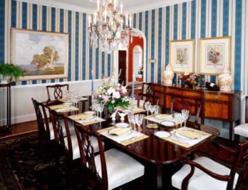 Striped Wallpaper Dining Room